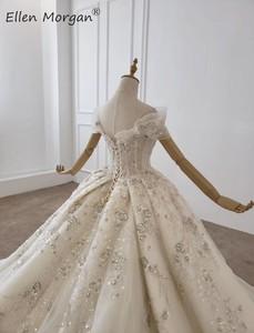 Image 5 - หรูหราคริสตัลลูกไม้ Gowns ชุดแต่งงานสำหรับสตรี Saudi Arabian Elegant Princess ปิดไหล่ชุดเจ้าสาว 2020