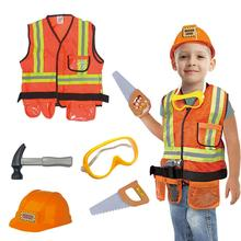 New Hot Children's Engineering Costume Kids Construction Worker Cosplay Costume Professional Experience Clothing Uniform Set