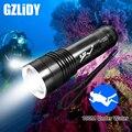 Professionelle LED Tauchen Taschenlampe Super Helle T6 Unterwasser Lampe IPX8 Wasserdicht Gelb + Weiß Licht Taschenlampe 18650 Laterne