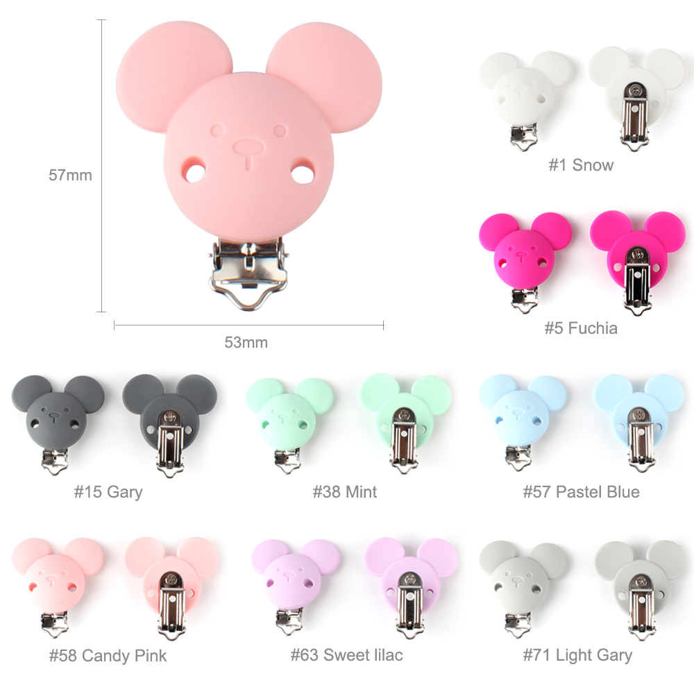 Keep&Grow 20pcs Micky Pacifier Clips Safe Teething metal silicone rodent Accessories DIY Baby Teething Necklace Pendant Clamp