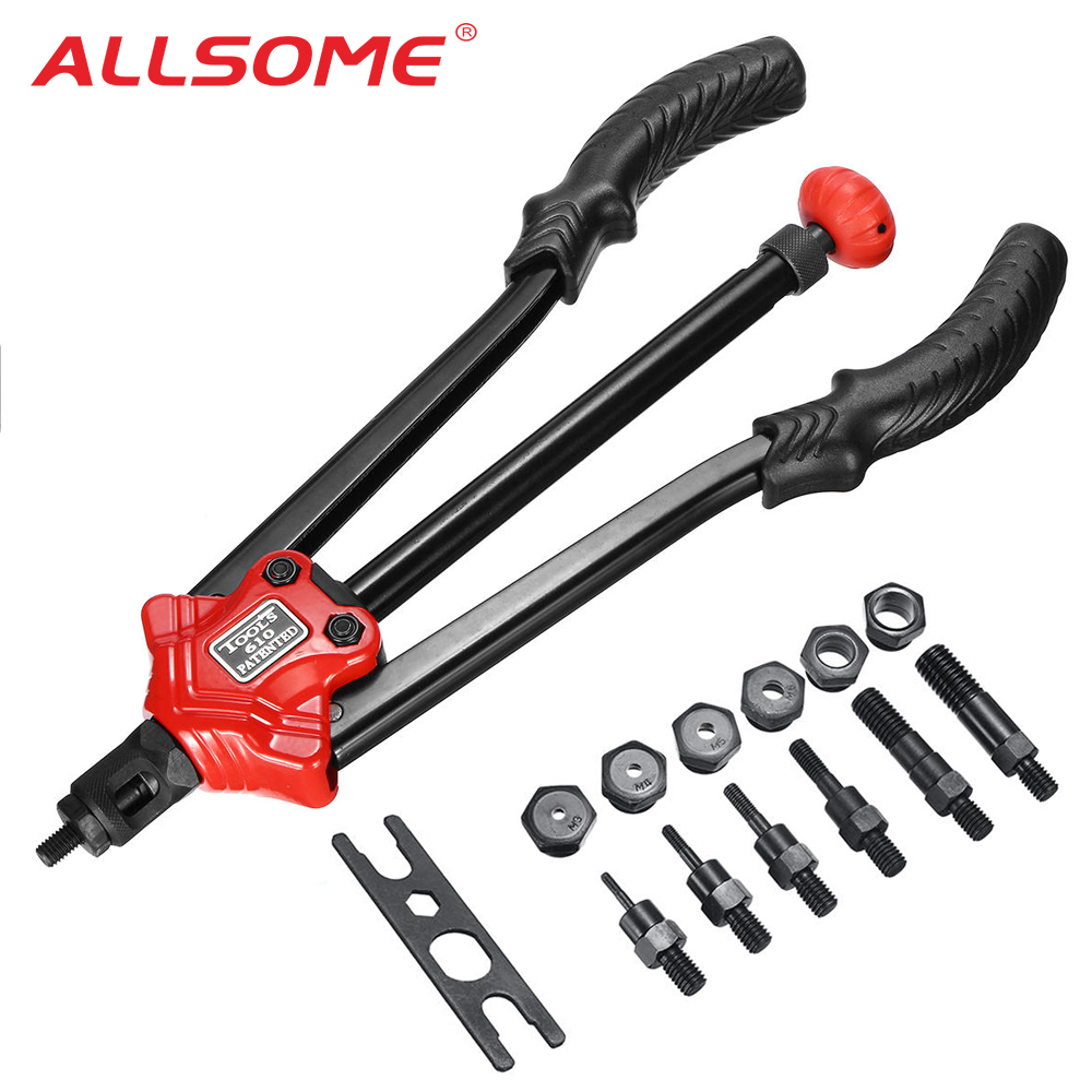 ALLSOME RIVET NUT GUN M3 M4 M5 M6 M8 M10 M12 Hand Riveter Rivet Gun Riveting Tools With Nut Setting System