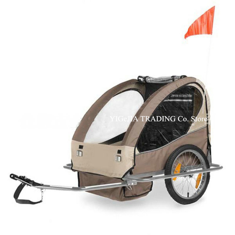 Double Bicycle Trailer, 20 Inch Big Wheel Children Trailer, Double Seat Kids Bike Trailer With Steel Frame