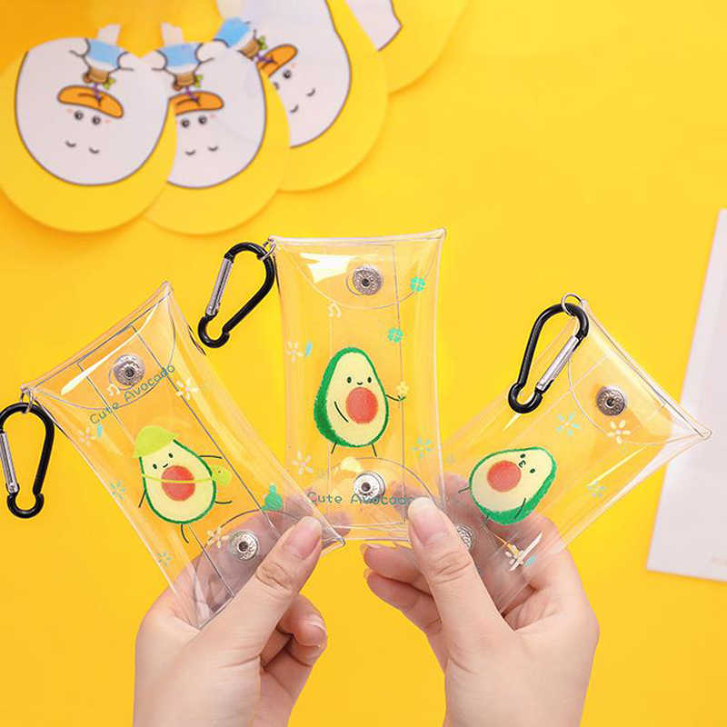 1 Pcs Cute Fruit Avocado Transparent Waterproof Coin Purse Wallet Pocket Bag Keychain Earphone Bag Stationery Pencil Bags