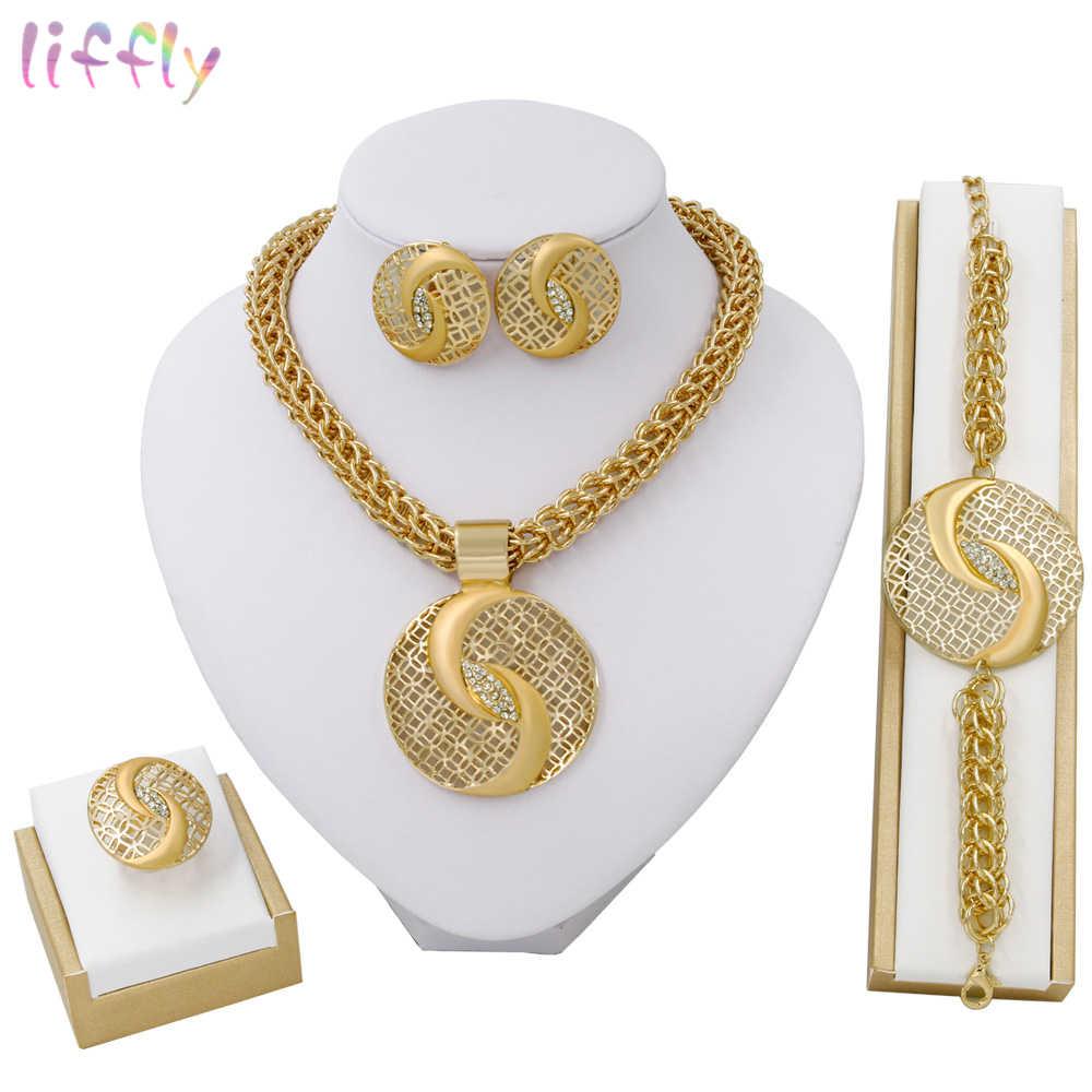Liffly דובאי זהב תכשיטי סטים לנשים גדול שרשרת אופנה ניגרי חתונה אפריקאית קריסטל תלבושות כלה תכשיטי סט