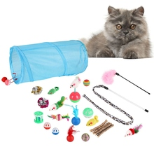 Pet Cat Toys Kits Assorted Cats Exercise Wand Toy Mouse Sisal Ball Play Multi-color 20PCS/Set