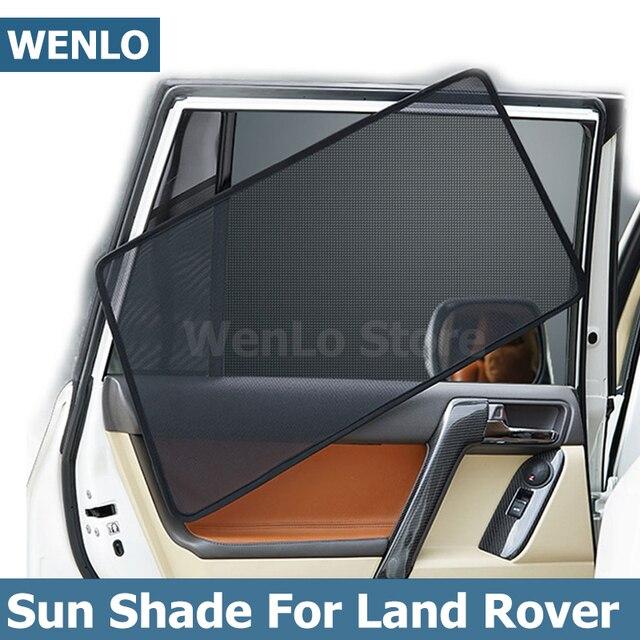 WENLO 4Pcs 자동차 사이드 윈도우 차양 랜드 로버 디스커버리 3 4 5 Evoque 레인지 로버 스포츠 프리랜더 2 자동차 커튼