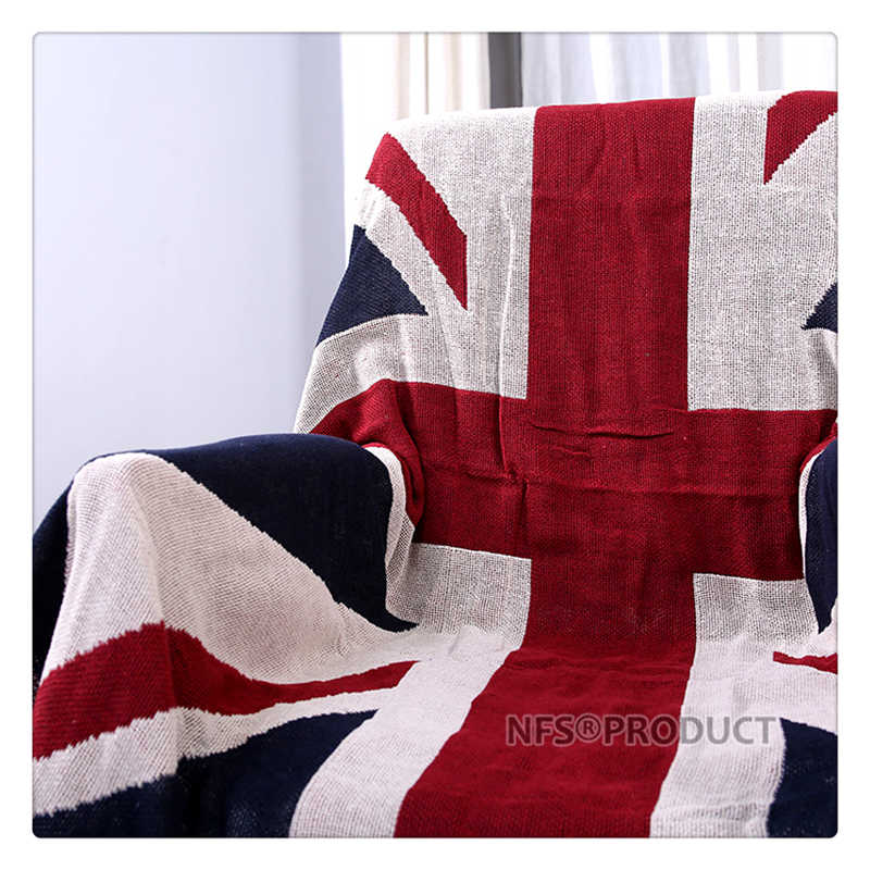 130x180cm Sofa Blanket Cotton Fabric UK & USA Flag Design Knitted Bed Spread Couch Covering Quilt Throws With Tassels 4