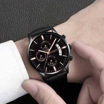 2021 Relogio Masculino Watches Men Fashion Sport Stainless Steel Case Leather Band watch Quartz Business Wristwatch Reloj Hombre - Black Black Rose