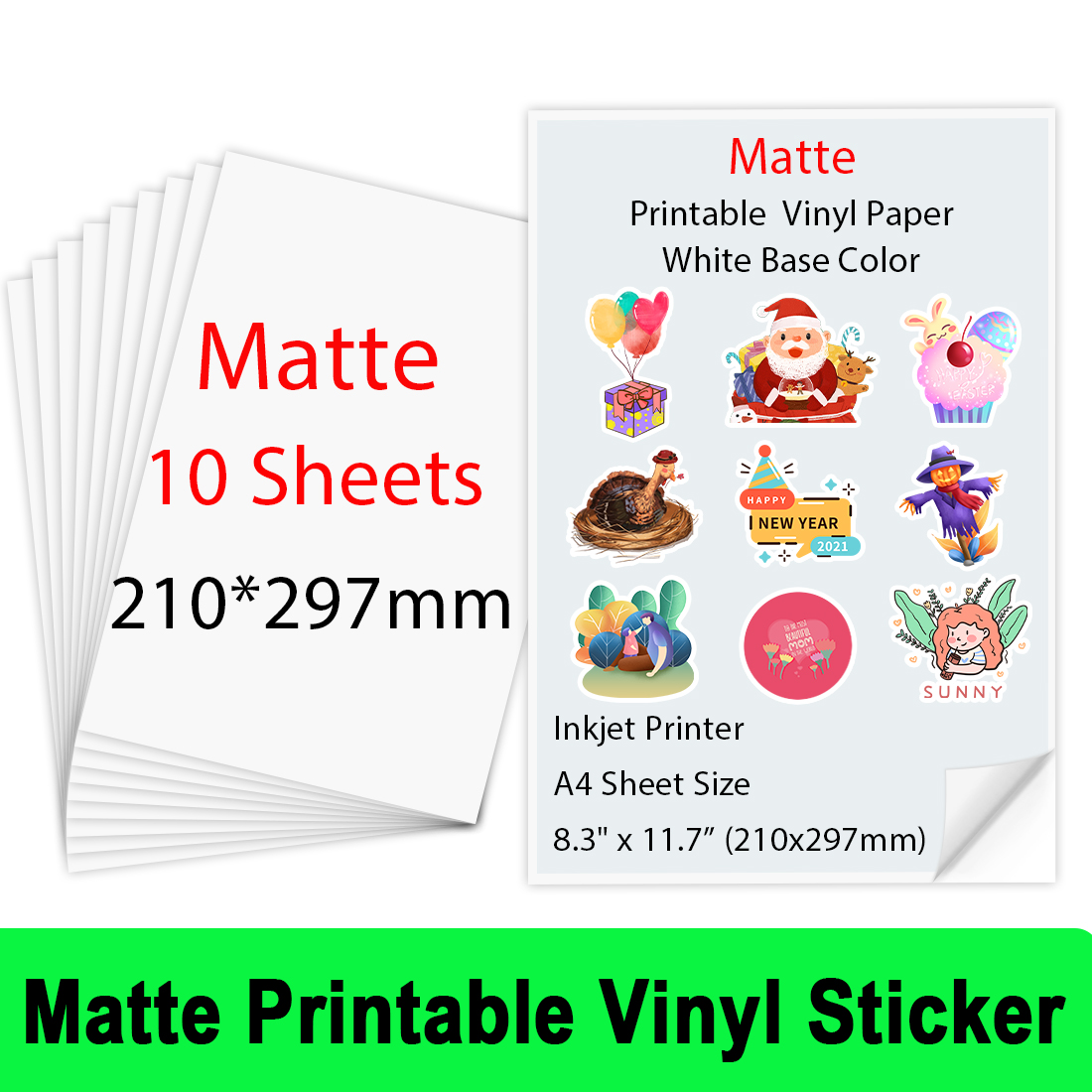 10 Sheets Printable Vinyl Sticker Paper A4 Glossy Matte Self-adhesive Waterproof Copy Paper for Inkjet printer DIY Crafts Gifts