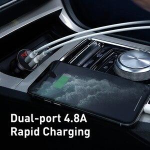 Image 3 - Baseus المعادن شاحن سيارة 5 فولت 4.8A المزدوج USB شاحن مع LED عرض العالمي الهاتف المحمول شاحن آيفون هواوي شاومي