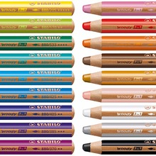 Stabilo Woody 3 In 1 Multi-Talented Pencil  Assorted Colors Wallet of 6/10/18 Colors Color Pencil Kid Great Pencil Gift