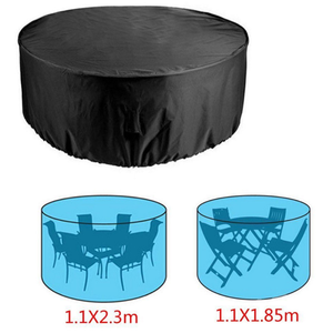 Image 2 - פוליאסטר חיצוני שולחן כיסוי מחנה פאטיו כיסוי ריהוט גן שולחן וכיסאות אטים לגשם Dustproof UV עמיד כסף ציפוי
