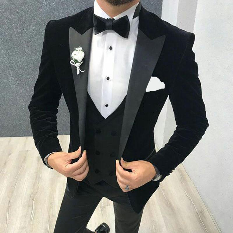 2020 Black Velvet Men Suits For Wedding Suits Groom Blazer Tuxedo Smoking Jacket 3Piece Slim Fit Costume Homme Terno Masculino
