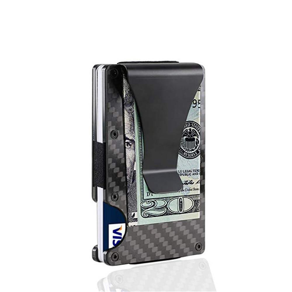 2020 New Carbon Fiber Credit Card Holder RFID Non-scan Metal Wallet Purse Blocking Slim Wallet Money Cash Clip