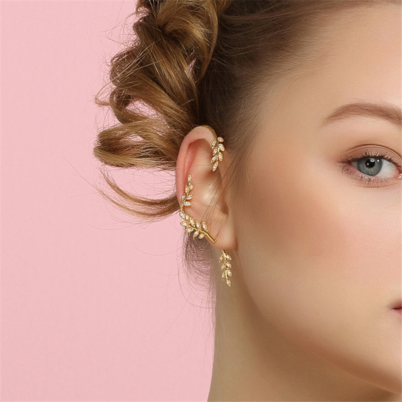 Fashion Jewelry Metal Leaf Earrings Bohemia Olive Branch Crystal Stud Earrings Women Popular Ears Hangl Birthday Banquet Jewelry