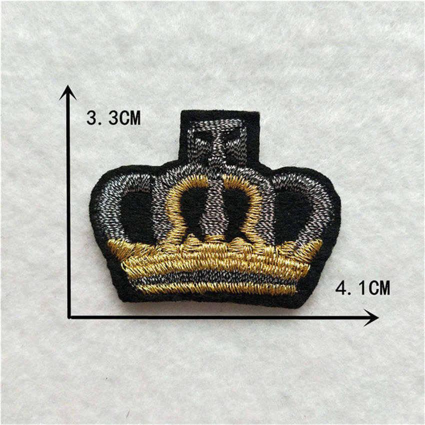 Moda bordado mistura de ferro para remendos bonito coroa emblemas flor adesivos diy menina dos desenhos animados para jeans saco chapéu acessórios