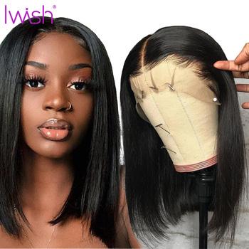 Bob Lace Front Wig Human Hair Lace Front Wig Remy Hair Brazilian Straight Lace Front Wig 13 #215 4 Light Brown Lace Density 150 tanie i dobre opinie iwish Średni Proste Koronki przodu peruk Remy włosy Ludzki włos Pół maszyny wykonane i pół ręcznie wiązanej Ciemniejszy kolor tylko