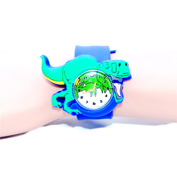 Hot Doys Watches 3D Dinosaur Watch for Kids Children Cartoon Animal Clock Rubber Slap Belt Child Toys Quartz watches image