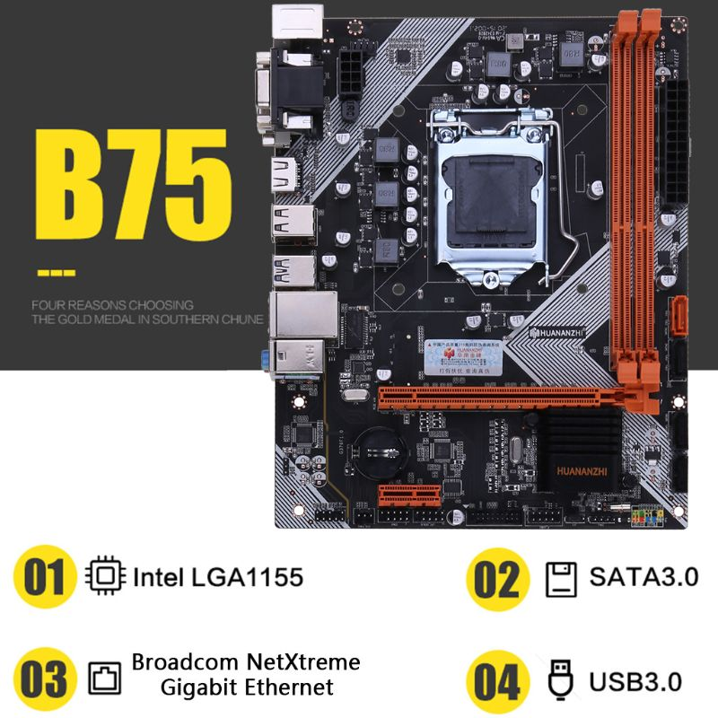 Huananzhi <font><b>B75</b></font> Desktop <font><b>Motherboard</b></font> <font><b>LGA1155</b></font> for i3 i5 i7 CPU Support ddr3 Memory image