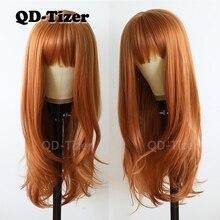 Qd tizer z długich włosów proste włosy #613 kolor koronki włosów Glueless żaroodporne syntetyczna koronka przodu peruki dla czarnych kobiet