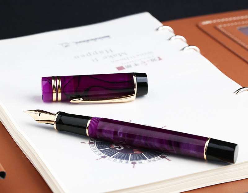 Moonman M600S Celluloid Purple Fountain Pen MOONMAN Iridium Golden F 0.5mm Excellent Fashion Office Business Writing Gift