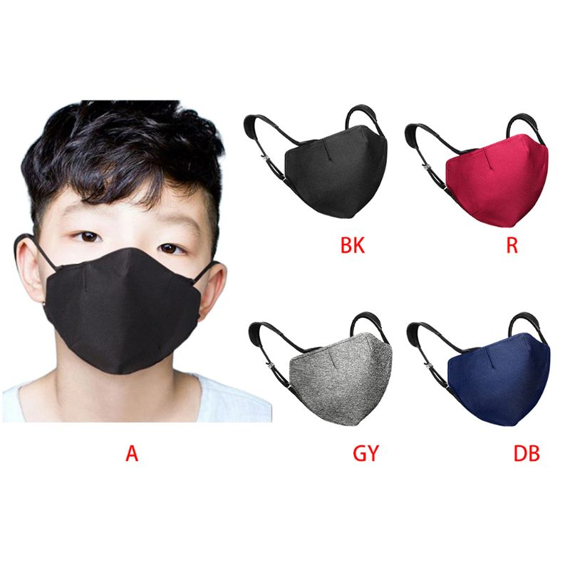 Adult Kids Winter Solid Color Dust Mask Elastic Earloop Washable Mouth-Muffle