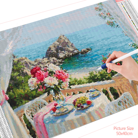 HUACAN 5D Diamond Painting Flower Vase River Landscape Home Decoration Cross Stitch Kit Mosaic Beaded Picture Full Square Drill Lahore