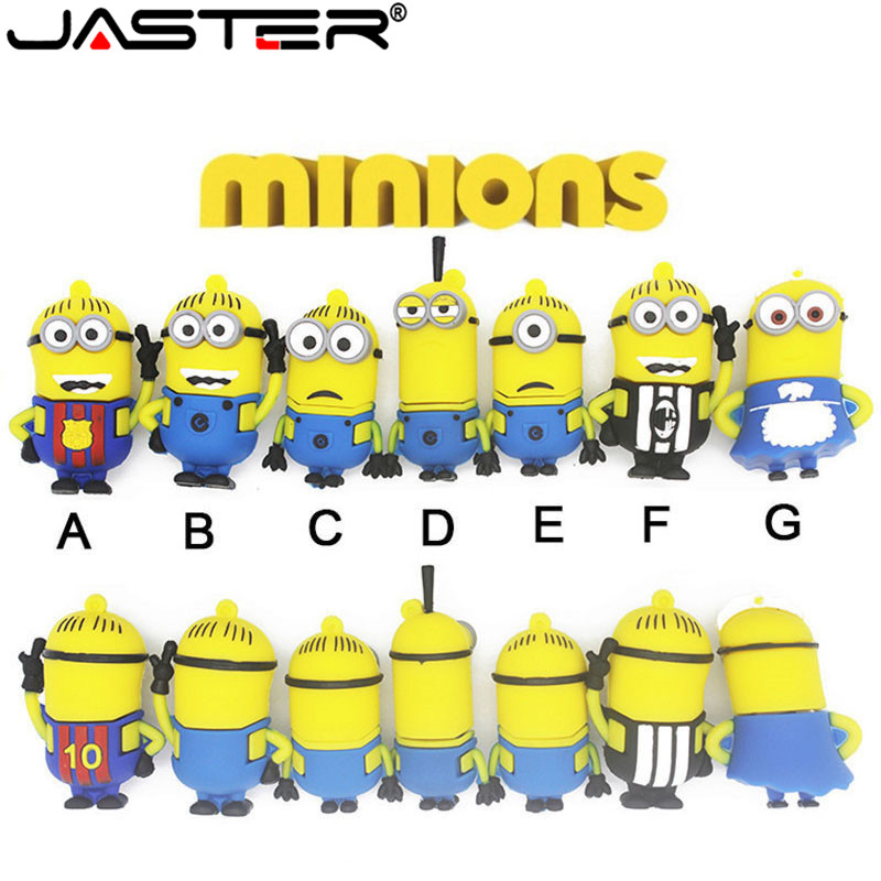 JASTER Popular and Cute Pendrives Minions USB Flash Drive Memory USB Pen Drive 4GB 8GB 16GB 32GB 64GB USB 2.0 Gifts Cle USB Disk