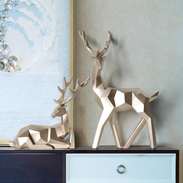 Deer Statue Family Deers Figurines Resin Sculpture Home Decor Reindeer Scandinavian Home living room decoration 5