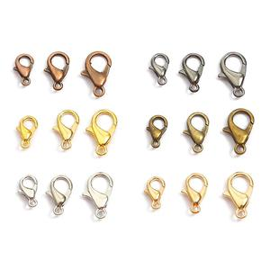 10/12/14/16/18/21mm Alloy Lobster Clasps Hooks Chain Connectors for Jewelry Making Supplies DIY Bracelet & Necklace