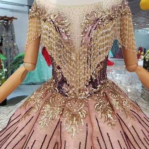 Image 5 - LS11089 blush color women occasion dress unique patter o neck ball sparkly party dress curve shape with golden lace floor length
