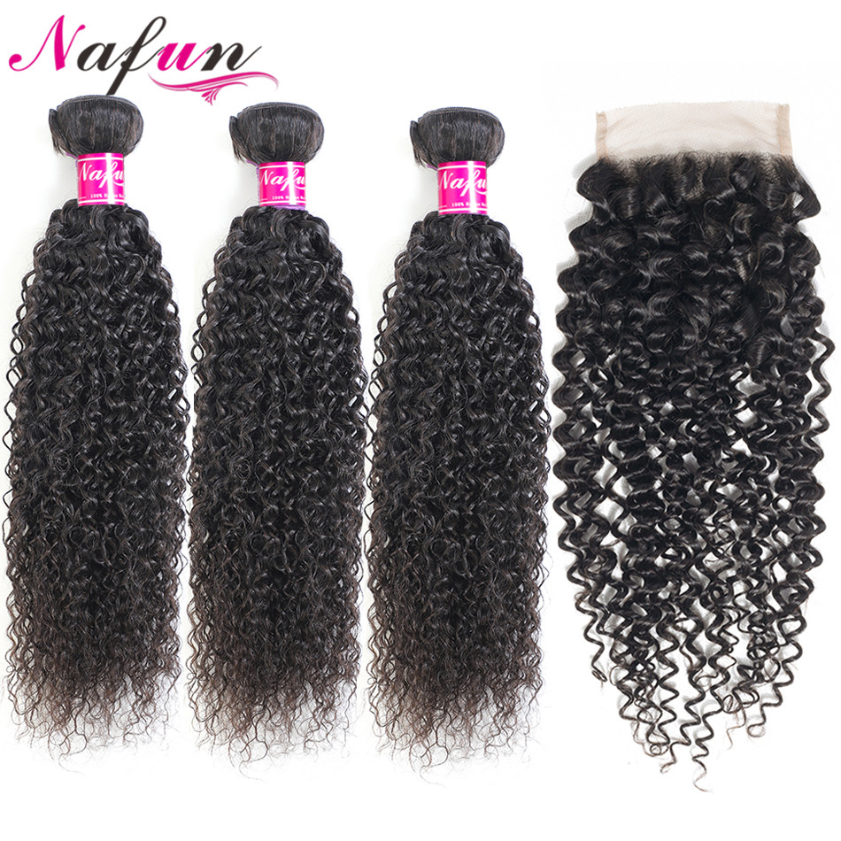 NAFUN Brazilian Kinky Curly Hair Bundles With Closure Non-Remy Hair Extension Swiss Lace Human Hair 3 Bundles With Lace Closure