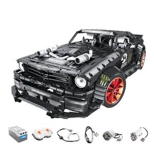 Image 2 - 23009 Ford Mustang Hoonicorn RTR V2 Racing Car with power function led light Technic 20102 MOC 22970 building block bricks Kids