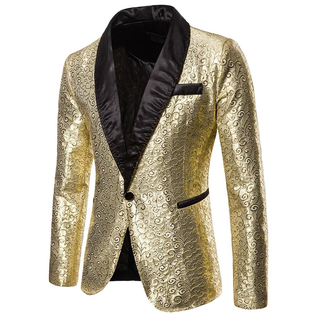 MoneRffi Shiny Gold Sequin Glitter Blazer Men Jacket DJ Host Single Button Suits Mens Blazer Jackets Prom Stage Wedding Costumes