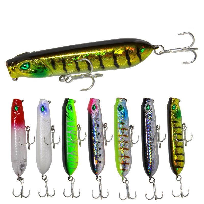 1pcs Fishing Spook Lure 12.5/18G 8/10CM Topwater Walking Dog Lure Artificial Hard Bait Bass Fishing Lure Long Shot 7 Colors