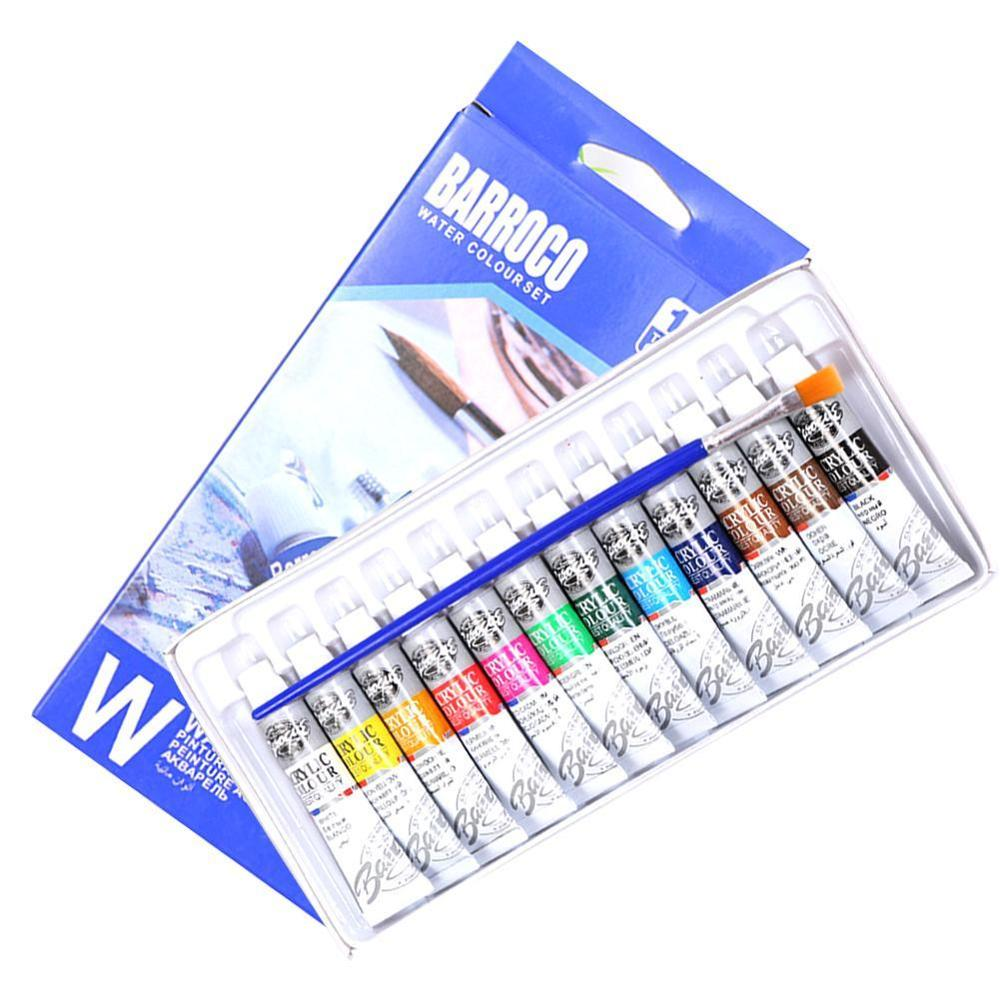Professional 12Colors 6ml Solid Watercolor Paints Set With Paintbrush Water Color Pigment Set DIY Paint Set