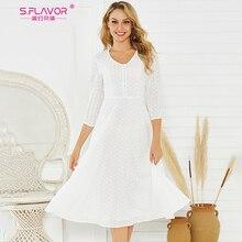 S.FLAVOR Women White Color Cotton Dress Elegant V neck Lantern Collar Midi Dress For Female Women Spring Summer Casual Dresses