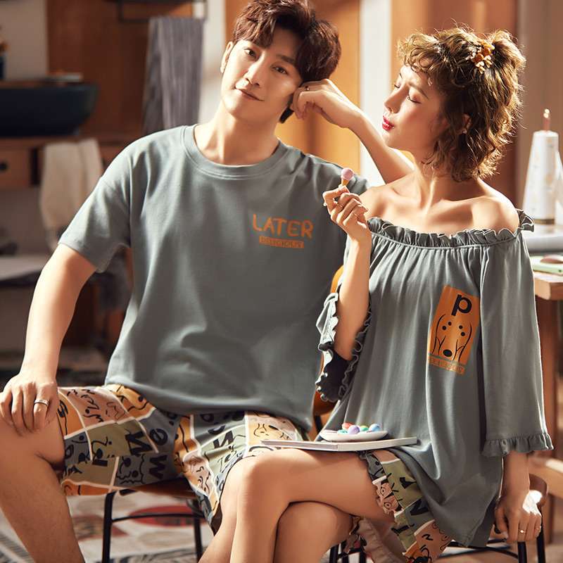 2020 Summer New 100% Cotton Casual Couple Home Service Loose Cute Pajamas Men And Women Sports Sleepwear Suit Nightgown