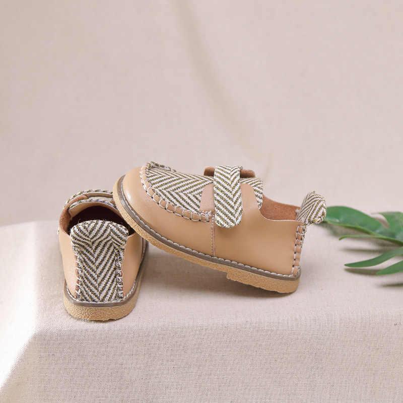 Bahar çocuklar moda ayakkabılar çocuk tekne ayakkabı bebek kız siyah deri daireler yürümeye başlayan okul ayakkabısı erkek loafer'lar marka mokasen