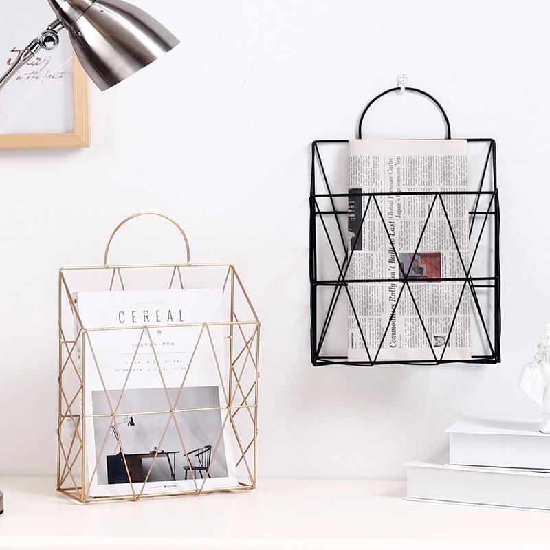 Luxury Nordic Metal Storage Basket Newspaper Decoration Shelf Wall-Mounted Book Rack Bathroom Furniture Home Office Supplies
