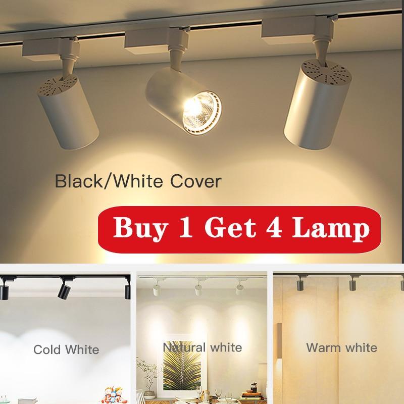 COB Led Track Light 220V 12/20/30/40W Adjustable Spot Lamp Light Fixture Aluminum Ceiling Rail Tracks For Kitchen Shop Store