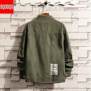 Image 3 - 6XL Baggy Jacken Schwarz Baumwolle Herbst Streetwear Fashion Armee Grün Hip Hop College Militärischen Stil Mantel Japan Bomber Jacke Männer