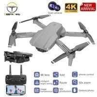 Dron E99 con 4K HD FPV, gran angular, profesional, cámara Dual 4K, retención de altura, flujo óptico, plegable, RC Quadcopter, juguete VS E88