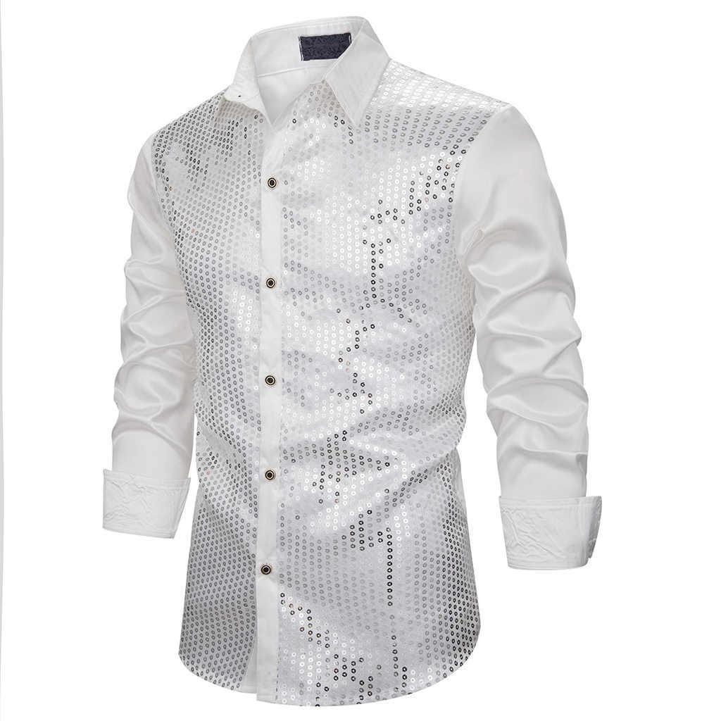 Shujin silk Stranger Things camiseta de fiesta para hombre camisa de lujo para hombre vestido de lentejuelas camisa de manga larga para hombre danza de la etapa club nocturno
