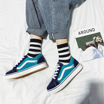 sneakers 2019 new arrivals fashion lace-up black/white shoes solid sewing shallow casual canvas shoes