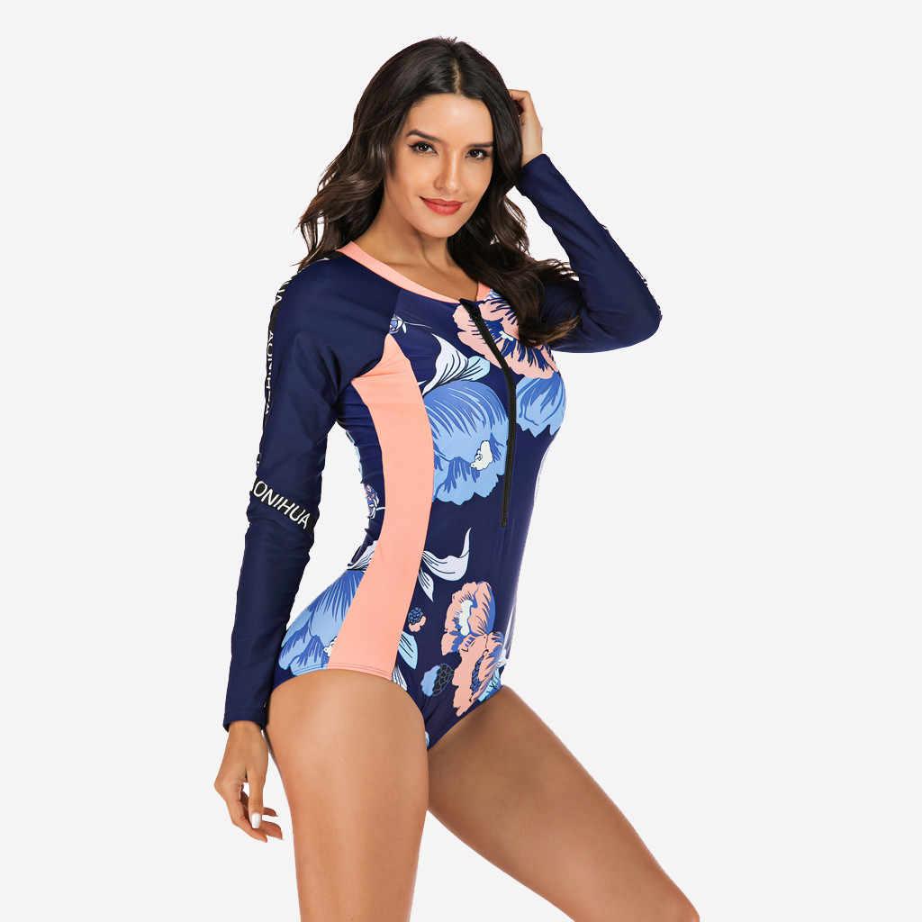 Womens Lange Mouwen Bloemen Een Stuk Duiken Surfen Badmode Badpak Beachwear Strand Jurk Sexy Tankini Bikini Badpak