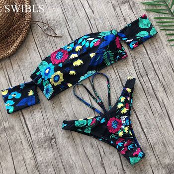 2020 Sexy Women One Shoulder Bikini Female Bather High Waist Swimsuit Brazilian Bathing Suit Swimming Woman Swimwear 5