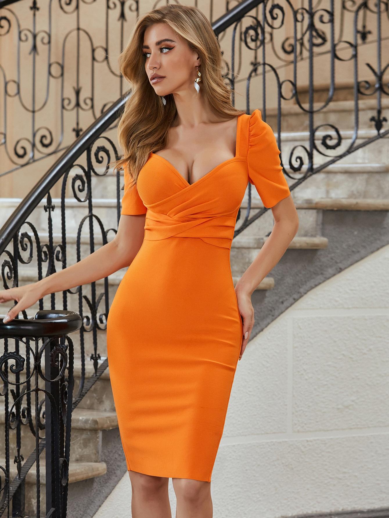 Alta calidad celebridad naranja corto sin mangas Vestido Bandage de rayón elegante Vestido de fiesta, Vestido de noche