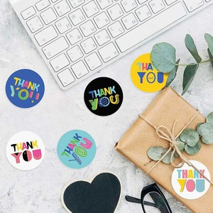 500 Uds., pegatinas de agradecimiento de color, 1 pulgada, pegatinas de agradecimiento, etiquetas de sello de embalaje de Scrapbooking, adhesivo de papelería