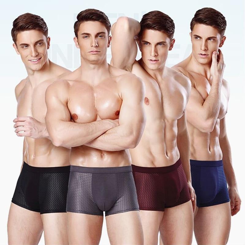 4pcs Bamboo Fiber Underwear Men Boxer Shorts Plus Size Panties Male Underpants Man Large Sizes Mens Boxers 5XL 6XL 7XL 8XL